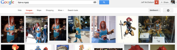 Larry as Lion-O Google screen shot
